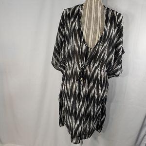 Merona Black/White/Grey Swim Suit Cover Up XLarge